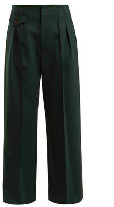 Sea Pleated Wide Leg Crepe Trousers - Womens - Dark Green