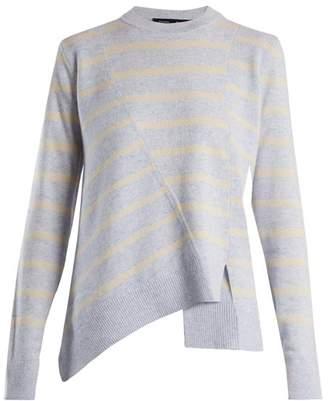Proenza Schouler Panelled Crew Neck Striped Wool Blend Sweater - Womens - Blue Stripe