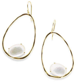 Ippolita 18K Rock Candy Tipped Oval Wire Earrings in Mother-of-Pearl