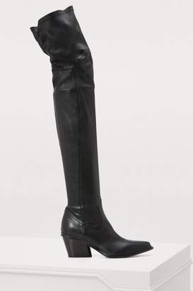 Sartore Stretch leather thigh-high boots