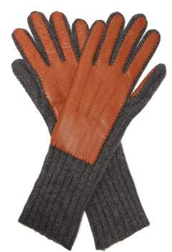 Burberry Leather And Cashmere Gloves - Womens - Tan