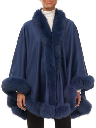 Gorski Cashmere Cape with Fox-Fur Trim