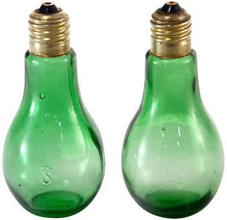 One Kings Lane Vintage Green Holiday Light Salt Shakers - Set of 2 - Design Line