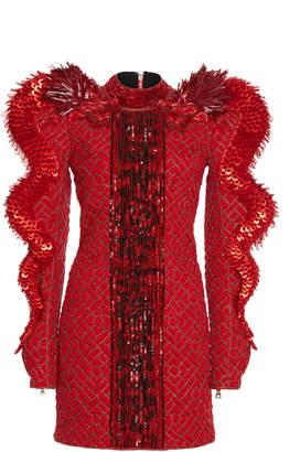 Balmain Mock Neck Sequin Silk Dress