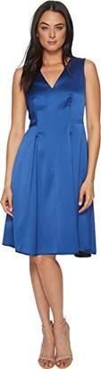 Anne Klein Women's Sleeveless V-Neck Fit and Flare Satin Dress