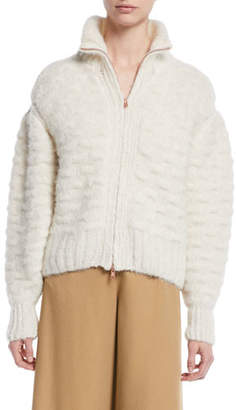 See by Chloe Fuzzy Zip-Front Knit-Back Jacket