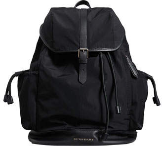 Burberry Watson Flap-Top Diaper Bag Backpack, Black