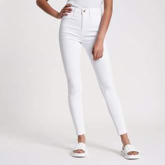 River Island Womens White Harper high waisted super skinny jeans