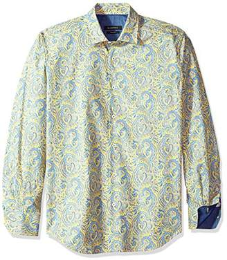 Bugatchi Men's Shaped Fit Paisley Printed Long Sleeve Woven