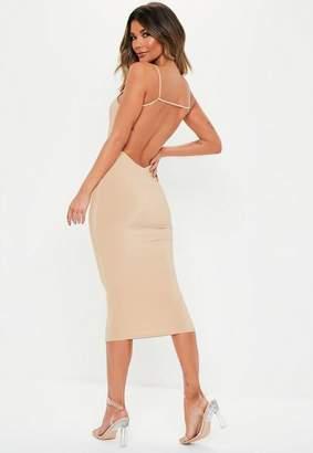Missguided Stone Slinky Strappy Low Back Bodycon Midi Dress