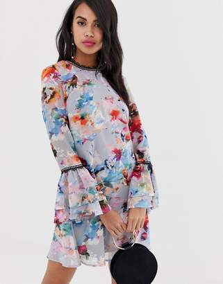 Little Mistress floral flute sleeve dress