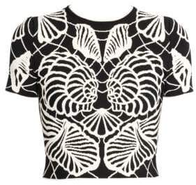Alexander McQueen Women's Monochrome Shell T-Shirt Top - Black Ivory - Size Large