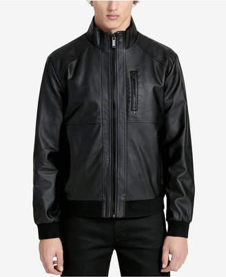 Calvin Klein Men's Faux-Leather Bomber Jacket