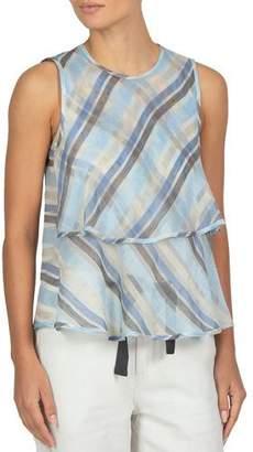 Eleventy Sleeveless Ruffled Striped Silk Top