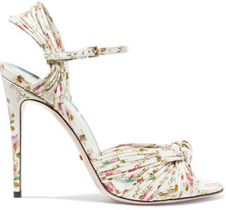 Gucci Knotted Floral-print Leather Sandals - White