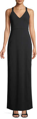 Alice + Olivia Brianna Sleeveless Side-Ruched Satin Maxi Dress