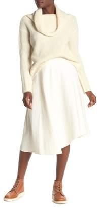 Vince Asymmetrical Hem Linen Blend Midi Skirt