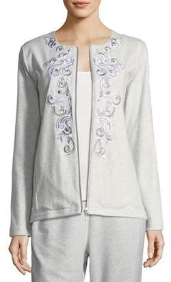 Joan Vass Embroidered Zip-Front Jacket