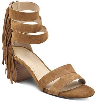 Sigerson Morrison Women's Ran Fringed Suede Block-Heel Sandals