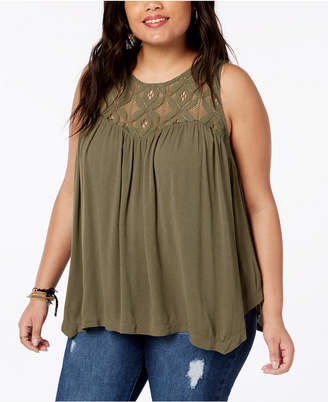 Eyeshadow Trendy Plus Size Lace-Yoke Trapeze Top