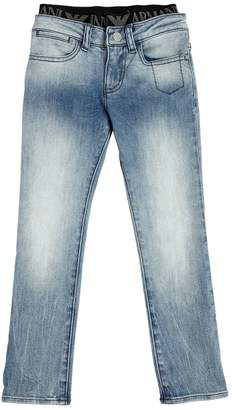 Armani Junior Stretch Denim Jeans With Logo Waistband
