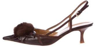 Valentino Fur-Accented Pumps