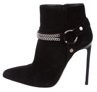 Saint Laurent Pointed-Toe Buckle Ankle Boots