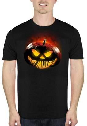HALLOWEEN Glowing Pumpkin Smile Men's Halloween Humor Graphic T-shirt, up to Size 5XL