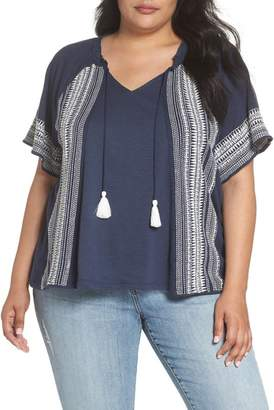 Caslon Embroidered Border Peasant Top (Plus Size)