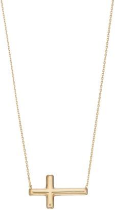14k Gold Sideways Cross Necklace