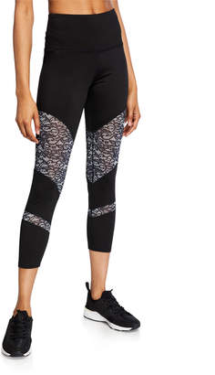 Nanette Lepore Play Ultra High-Waist Lace-Panel Leggings