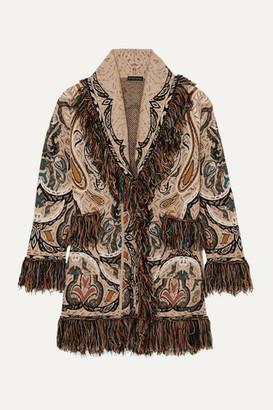 Etro Fringed Jacquard-knit Cardigan - Beige
