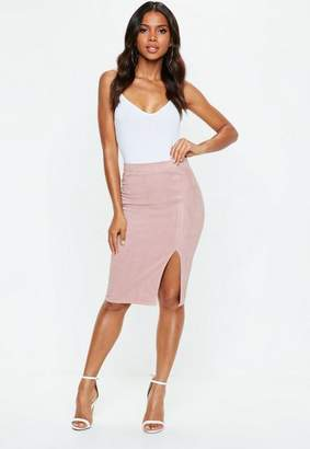 Missguided Pink Faux Suede Side Split Midi Skirt