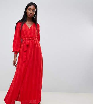 Missguided Tall plisse tie waist maxi dress in red