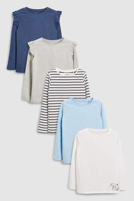 Next Girls Blue Long Sleeve T-Shirts Five Pack (3-16yrs)