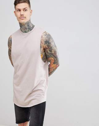 BEIGE ASOS DESIGN super longline tank with dropped armhole and curve hem in