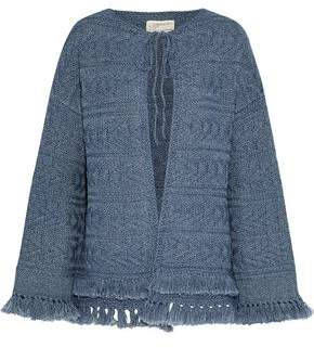 Current/Elliott Fringe-Trimmed Cable-Knit Cardigan
