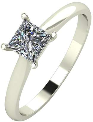 Moissanite 18ct Gold 60 Point Eq Princess Cut Ring