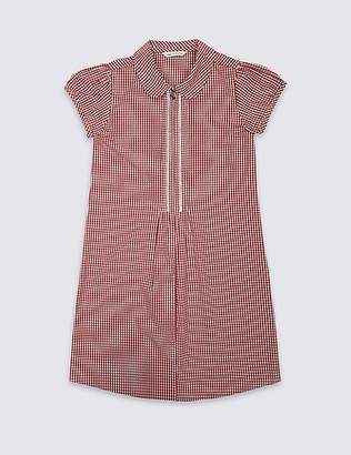 Marks and Spencer Girls' Gingham Pure Cotton Zip Dress