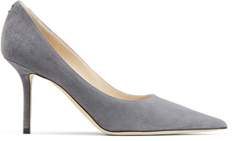 Jimmy Choo LOVE 85 Dusk Suede Pointed Toe Pumps with JC Button