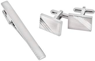 Bey-Berk Bey Berk Rhodium-Plated Stripe Cuff Links & Tie Bar Set