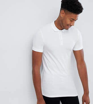 Asos Design DESIGN Tall muscle fit short sleeve jersey polo in white