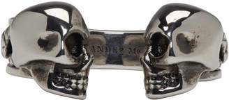 Alexander McQueen Silver Twin Skull and Snake Ring