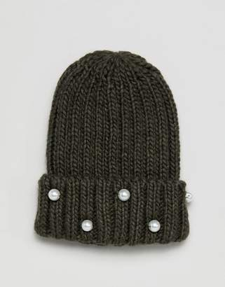 Helene Berman Beanie with Pearl Embellishments