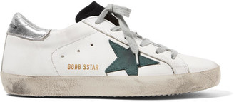 Golden Goose Deluxe Brand - Super Star Distressed Suede-paneled Leather Sneakers - White $445 thestylecure.com
