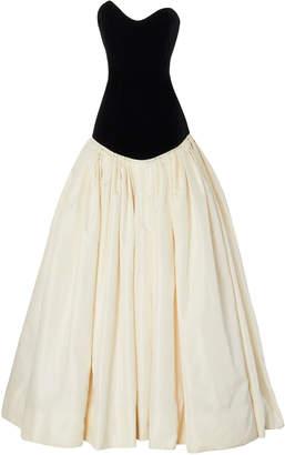 Monique Lhuillier Drop Waist Ballgown With Asymmetrical Strapless Bodice