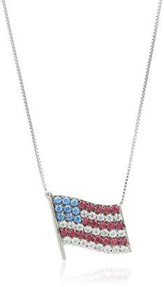 Swarovski Platinum Plated Sterling Silver Zirconia Patriotic American Flag Pendant Necklace