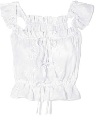 Innika Choo Embroidered Linen Top - White