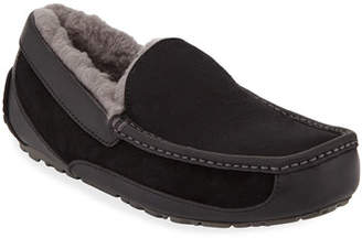 UGG Men's Ascot Leather-Trim Slippers