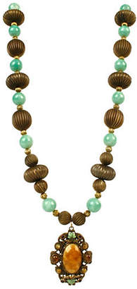 One Kings Lane Vintage Faux-Turquoise & Goldtone Bead Necklace